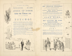 Advert for Maskelyne and Cooke, Royal Illusionists and Antispiritualists, reverse side